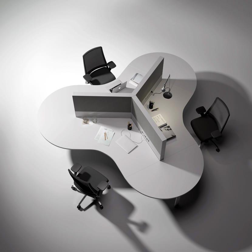 Puestro en trebol de mobiliario de oficina